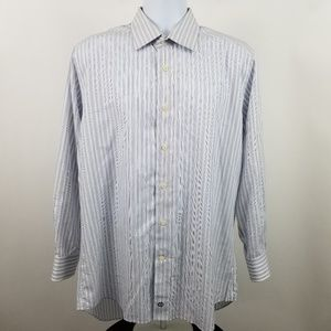 David Donahue Trim Fit Men Blue Gray Striped Shirt